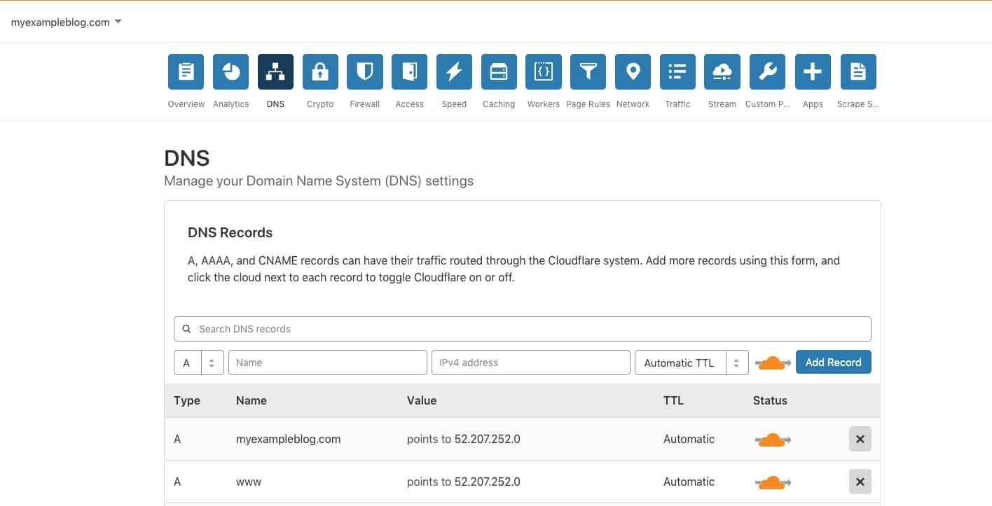 DNS Record for AWS lightsail.
