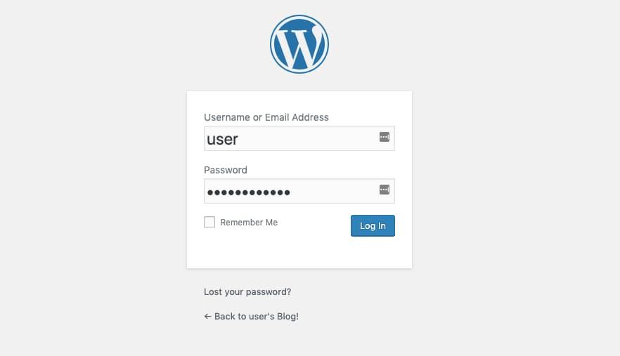 WordPress Login Screen.