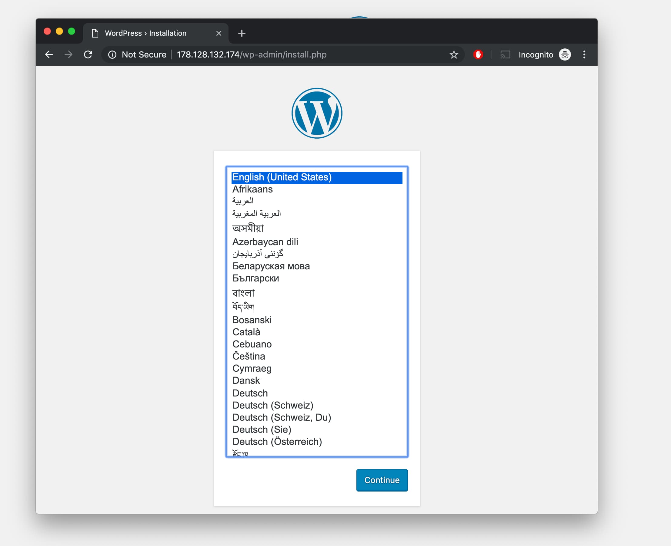 WordPress Installation Screen After Setup