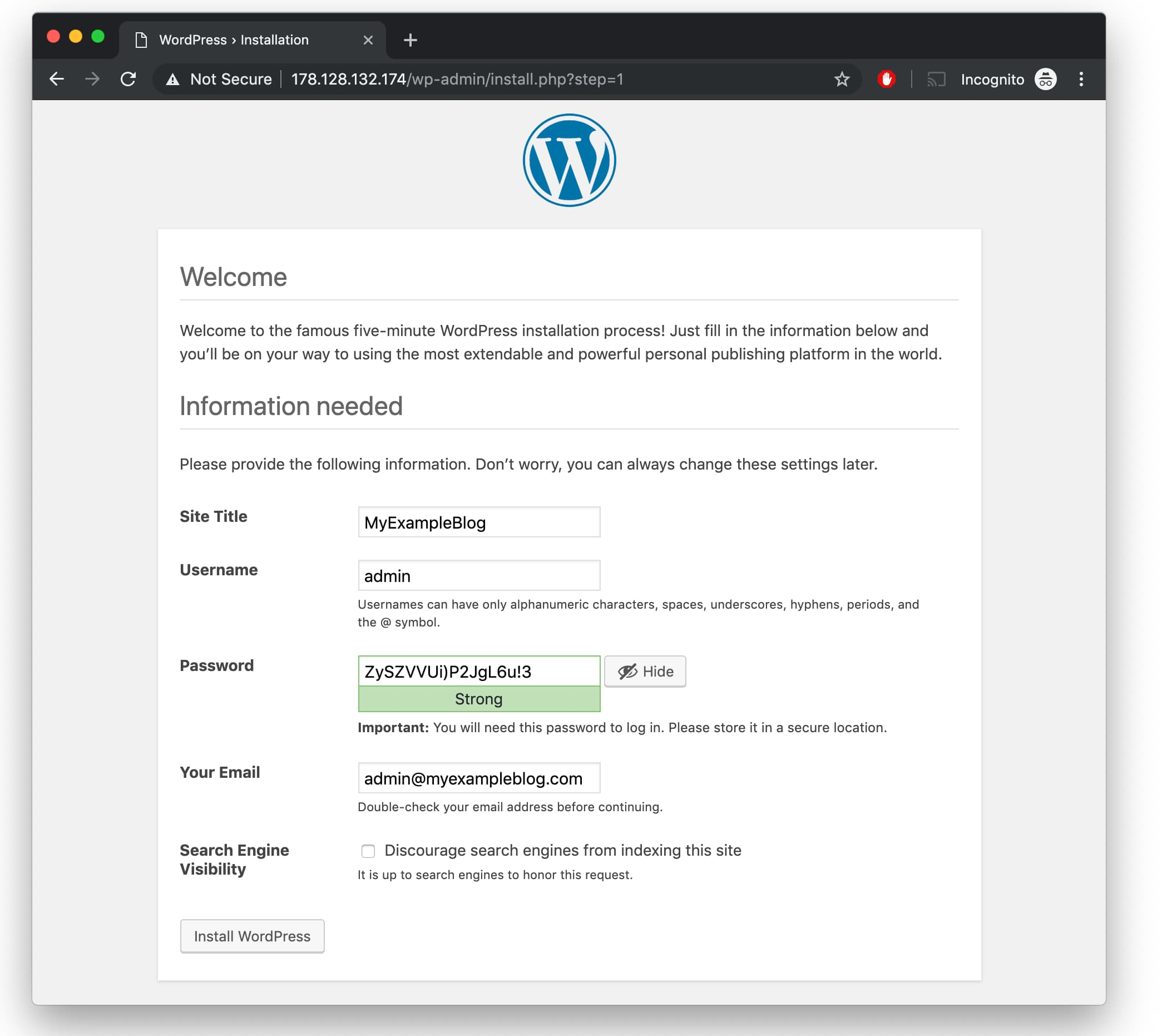 WordPress Username and Password setup on Ubuntu