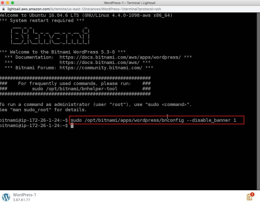 Remove Bitnami banner command in WordPress.