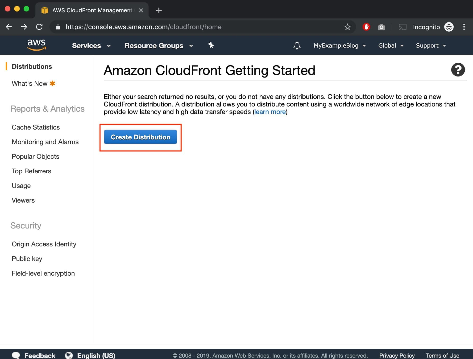 Create WordPress CloudFront Distribution