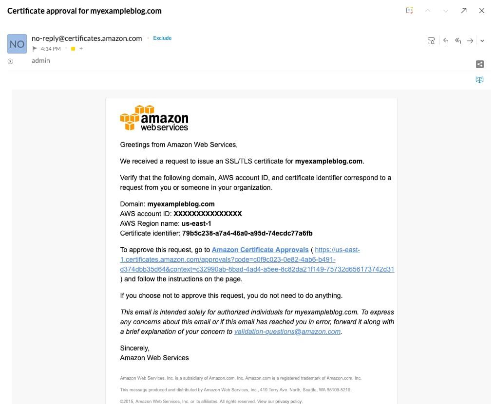 AWS Certificate Manager verification Email