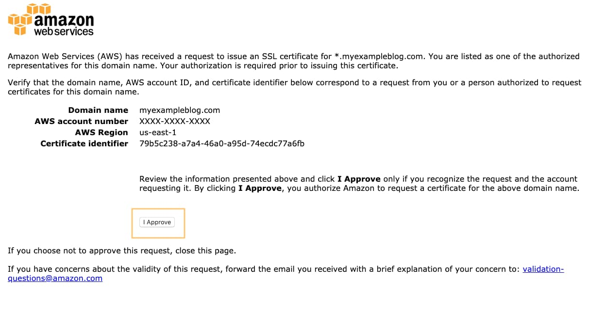 AWS Certificate Manager Approve Certificate