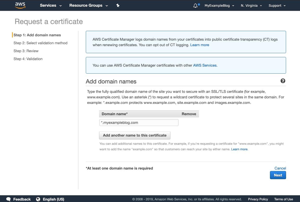 AWS WildCard certificate
