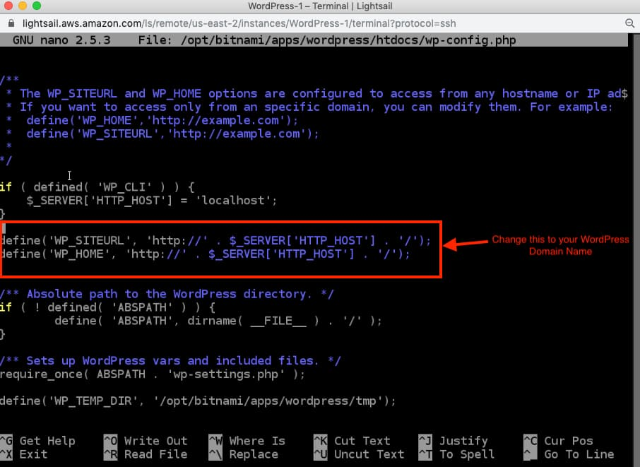 AWS Lightsail Change WordPress URL in wpconfig.php